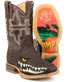 Tin Haul Boys' Swamp Chomp Western Boots - Square Toe, Brown, hi-res