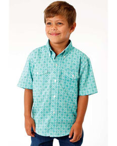 Roper Boys' Amarillo Medallion Print Short Sleeve Western Shirt , Blue, hi-res