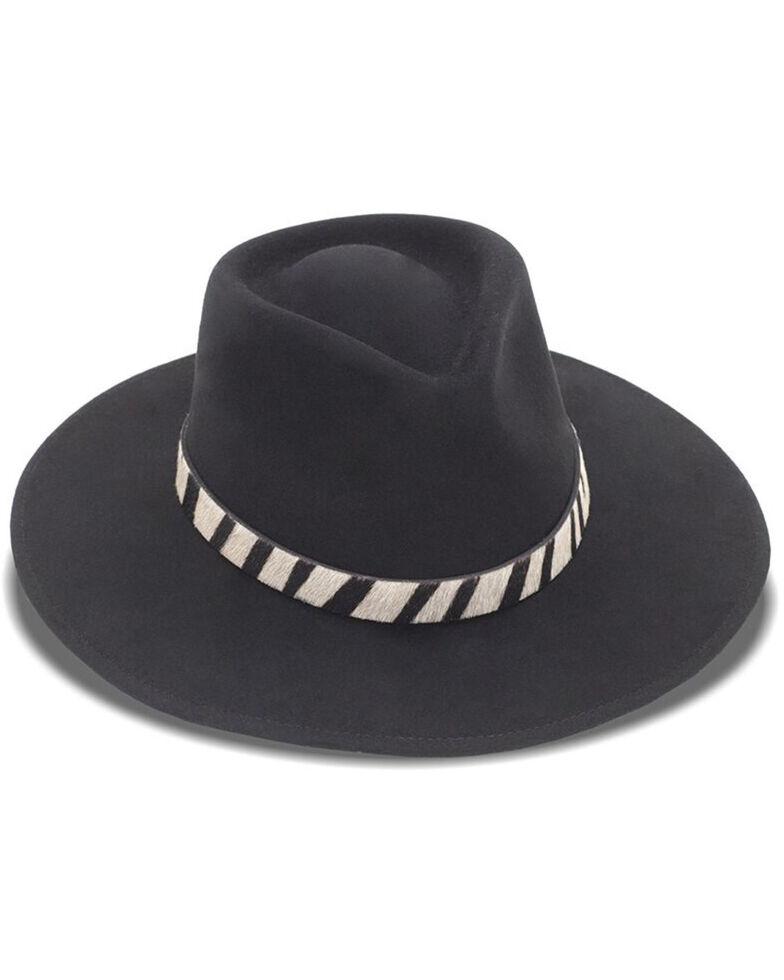 Nikki Beach Women's Black Zebra Sabi Western Felt Rancher Hat , Black, hi-res
