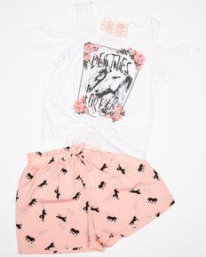 Shyanne Girls' Woven Ruffle Shorts & Tee Set, Pink, hi-res