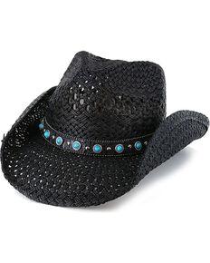 Shyanne® Women's Alabama Straw Hat, Black, hi-res