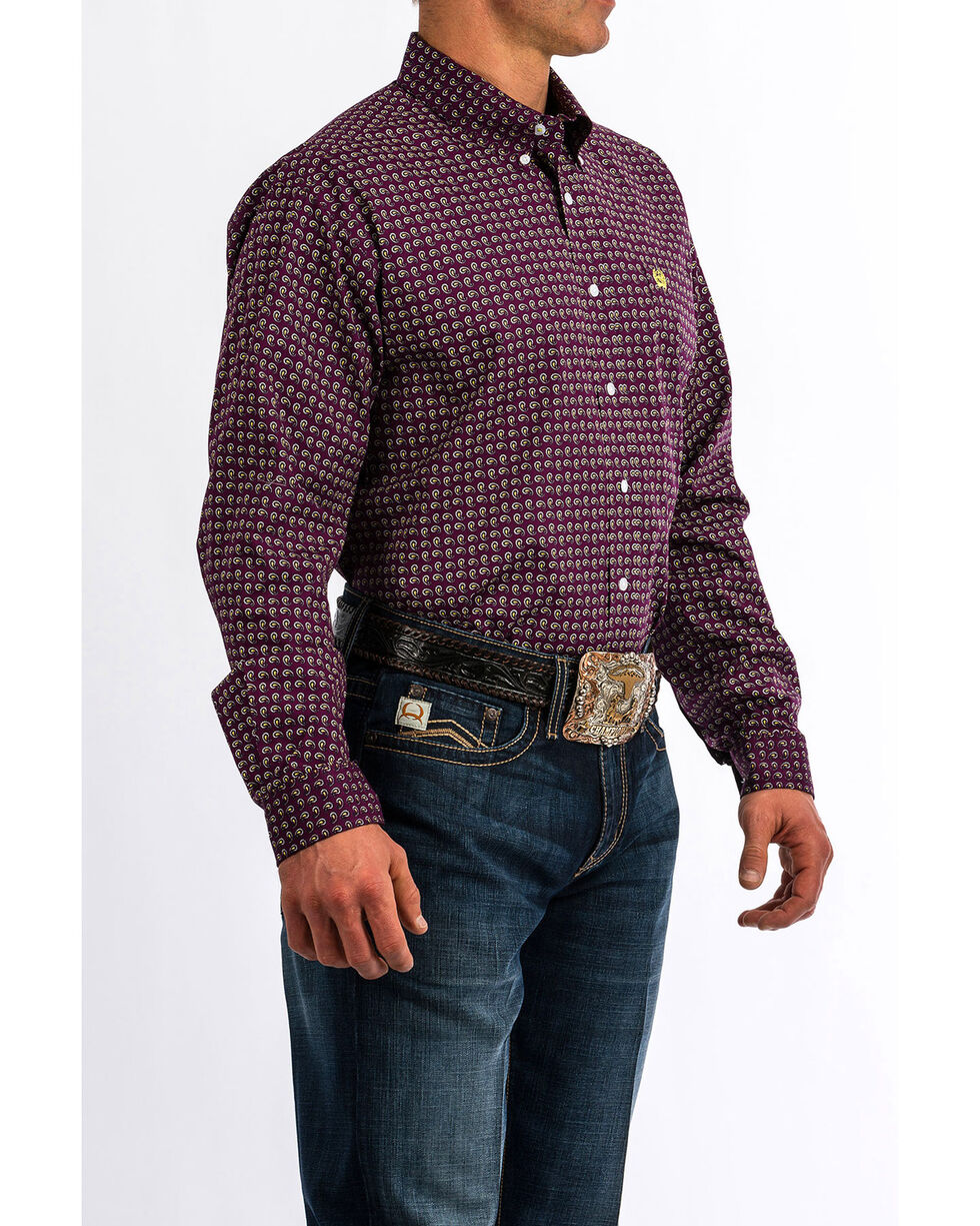 Cinch Men's Small Paisley Print Long Sleeve Western Shirt , Purple, hi-res