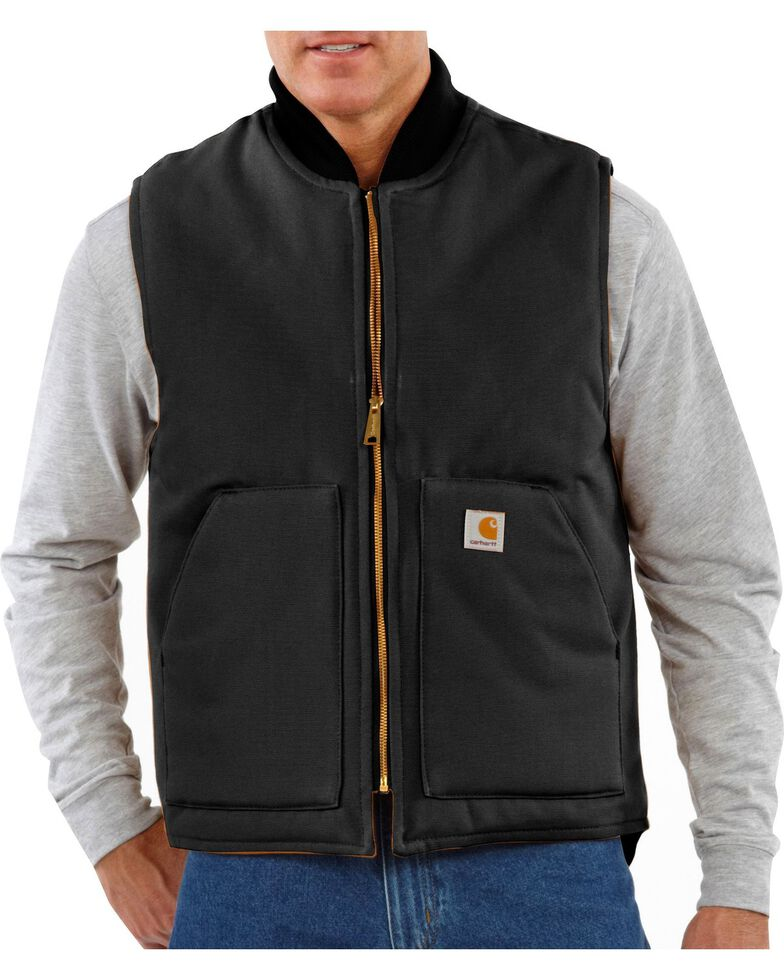 Carhartt Arctic Quilted Canvas Duck Vest, Black, hi-res