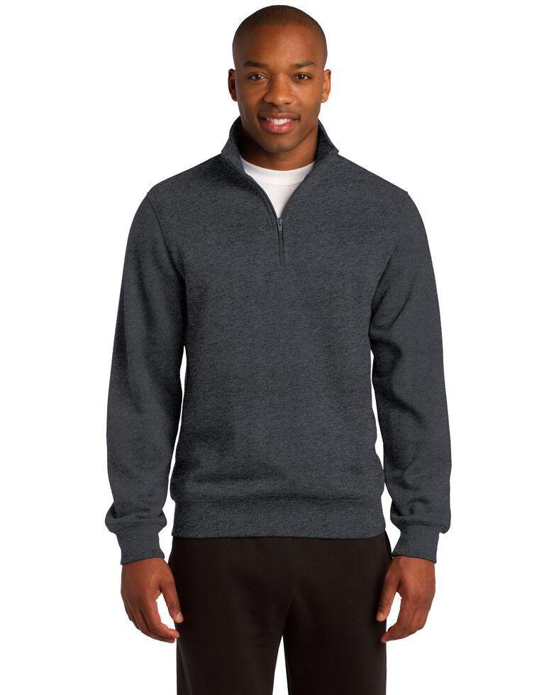 Sport Tek Men's Graphite Heather 3X 1/4 Zip Pullover Sweatshirt - Big, Grey, hi-res