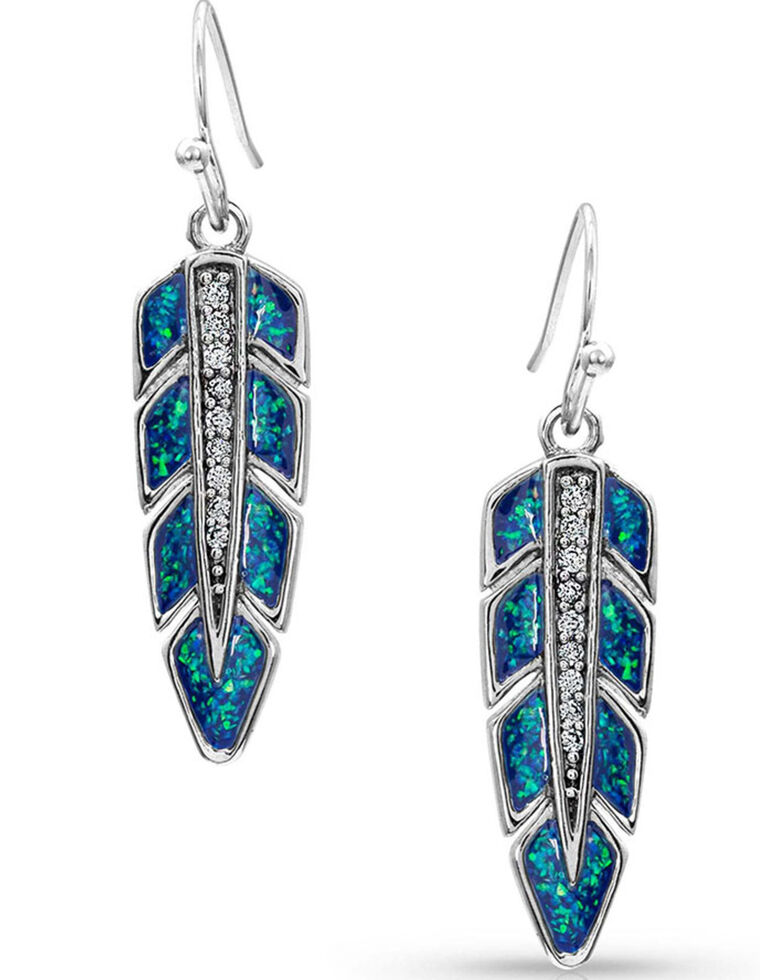 Montana Silversmiths Women's Hawk Feather Opal Earrings, Silver, hi-res