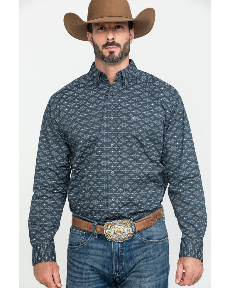 Ariat Men's Flossmoor Stretch Aztec Geo Print Long Sleeve Western Shirt , , hi-res