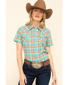 Wrangler Women's Turquoise Plaid Snap Short Sleeve Western Shirt, Turquoise, hi-res