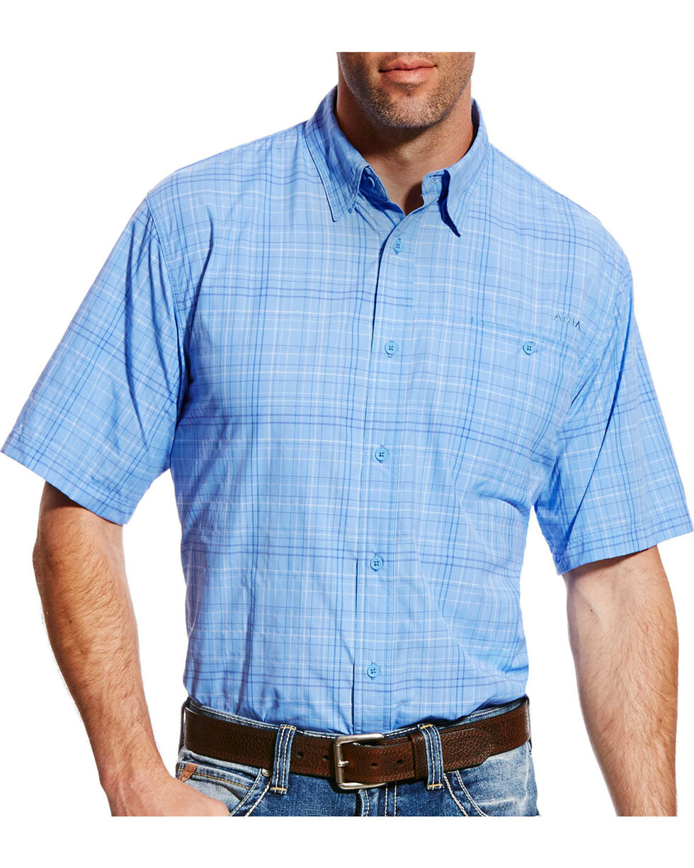 Ariat Men's Blue Plaid VentTEK II Shirt , Light Purple, hi-res