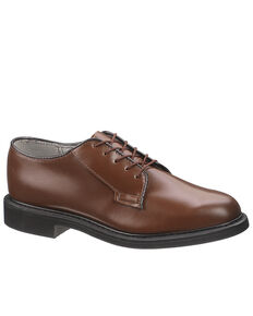 Bates Men's Brown Leather Oxford Shoes, Brown, hi-res