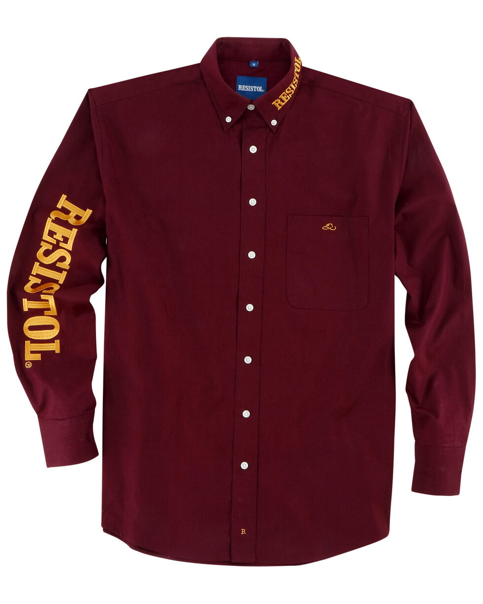 Resistol Men's Solid Logo Button Down Long Sleeve Western Shirt , Burgundy, hi-res