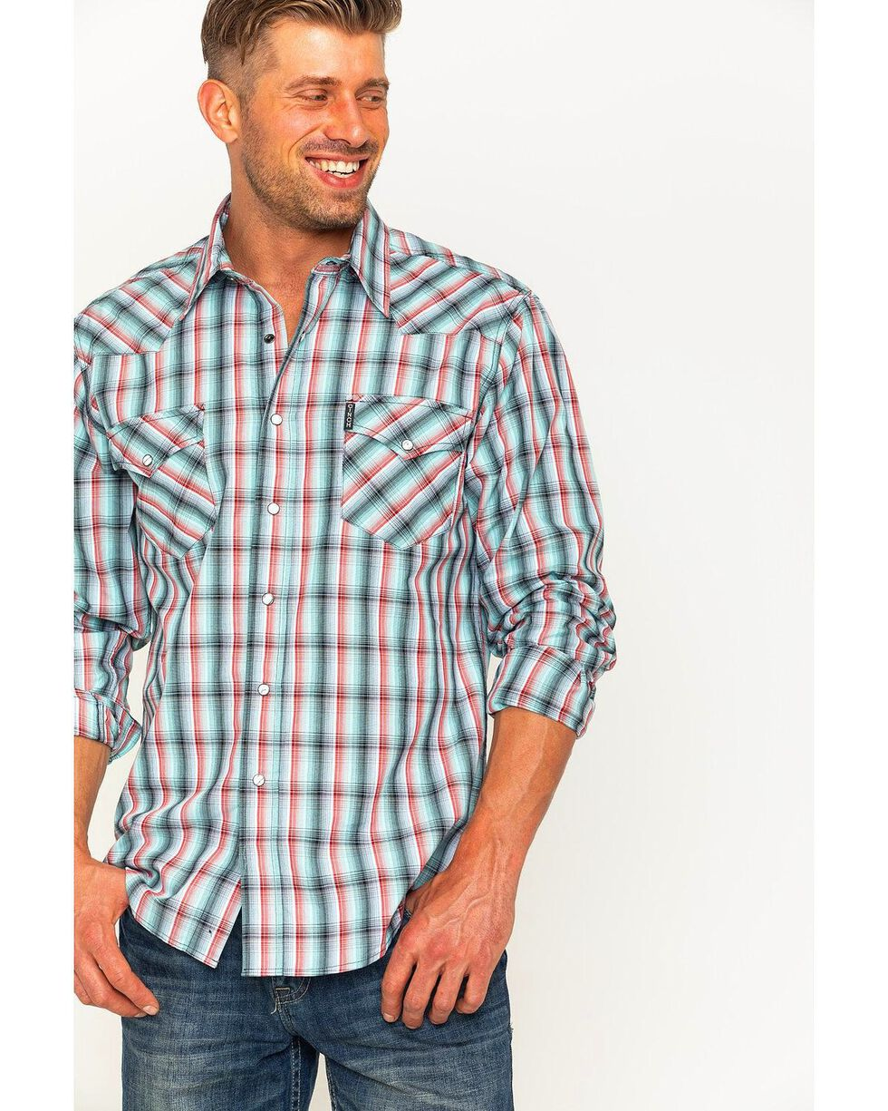 Cinch Men's Light Blue Modern Fit Double Pocket Long Sleeve Shirt, Light/pastel Blue, hi-res