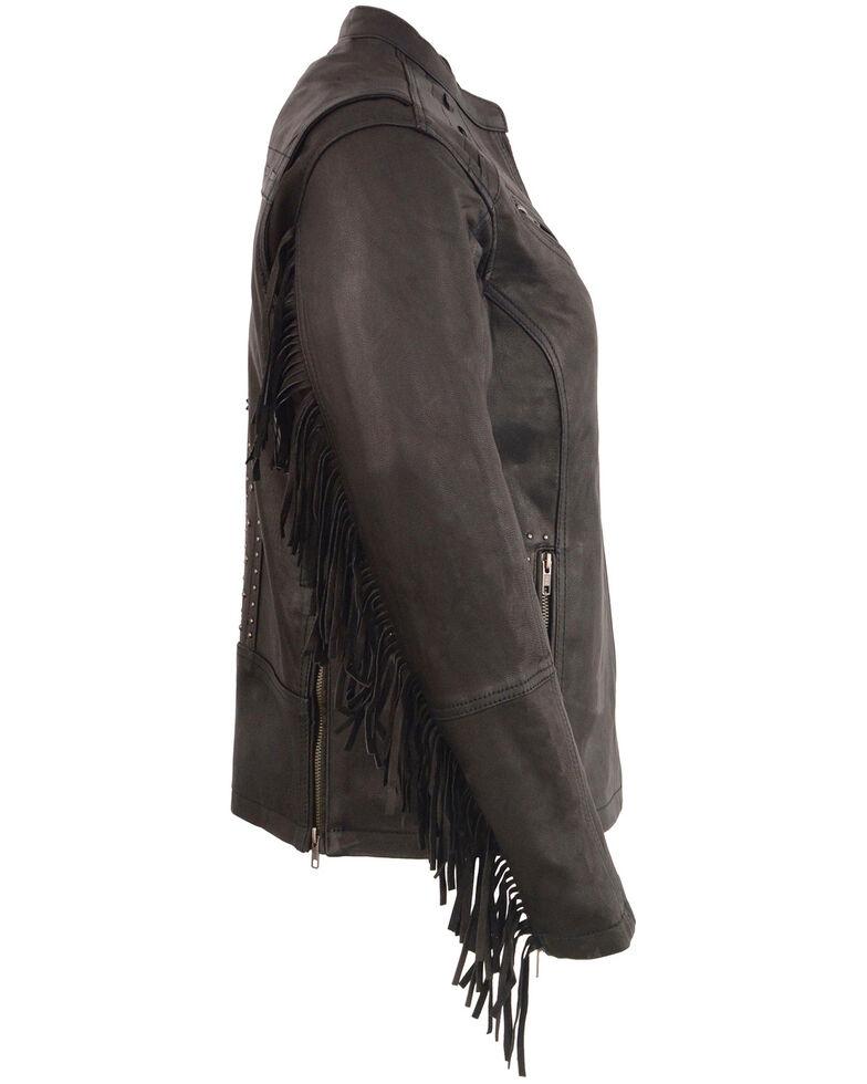 Milwaukee Leather Women's Fringe Lightweight Scuba Racer Leather Jacket - 4X, Black, hi-res