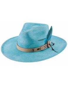 Bullhide Women's Turquoise Chasing Summer Bangora Straw Fashion Hat , Turquoise, hi-res