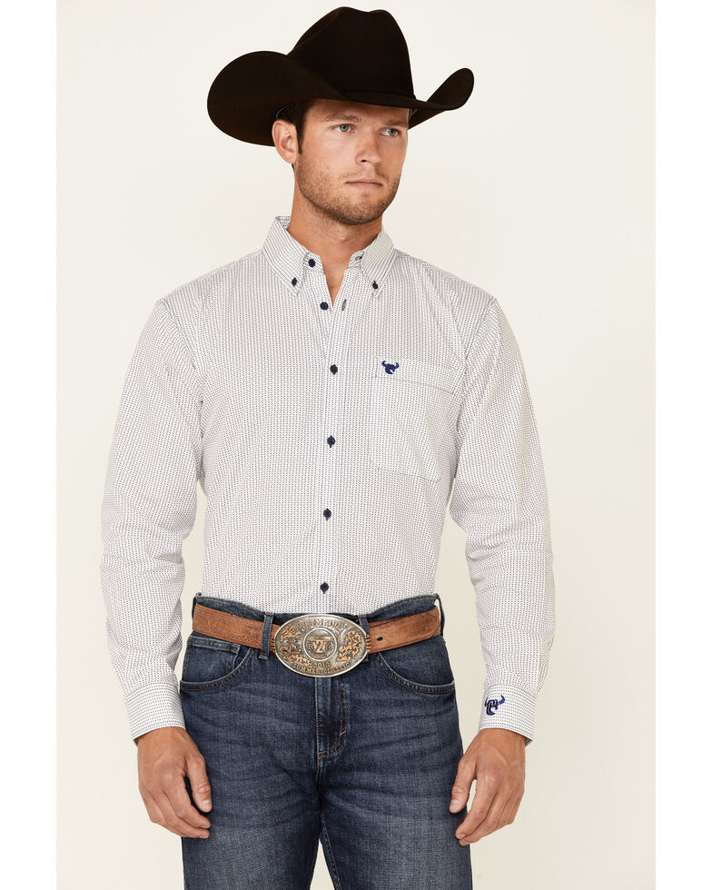 Cowboy Hardware Men's White Dot Geo Print Long Sleeve Button-Down Western Shirt , White, hi-res