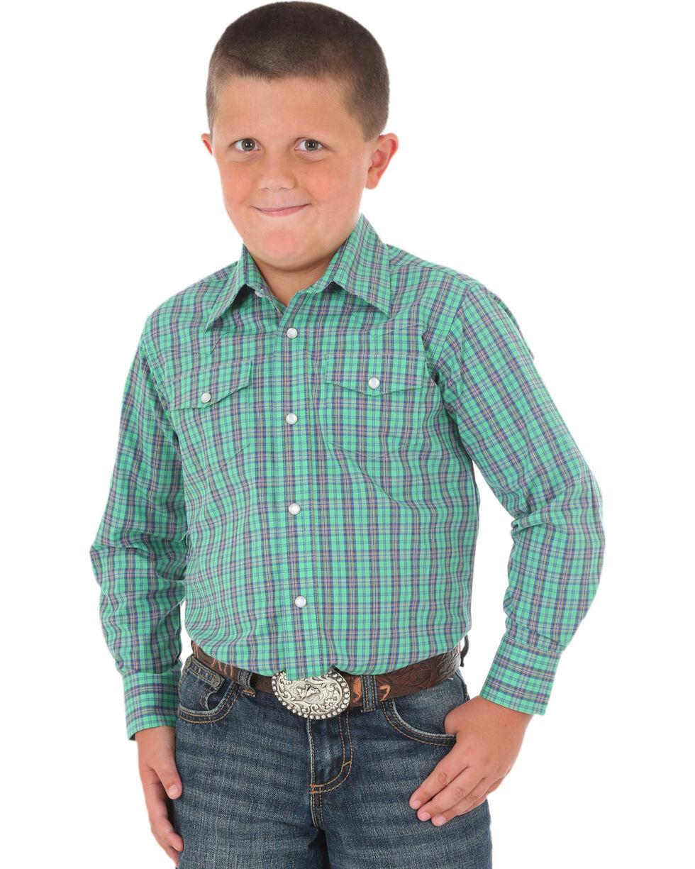 Wrangler Boys' Green Wrinkle-Resistant Western Shirt , Green, hi-res