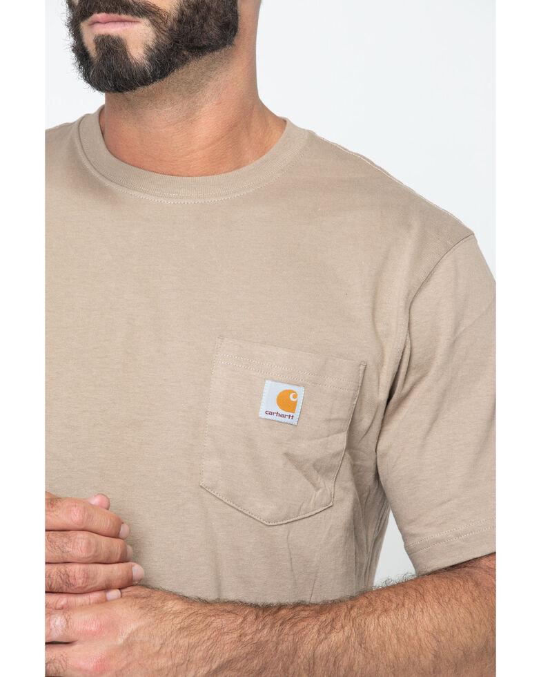 Carhartt Men's Solid Pocket Short Sleeve Work T-Shirt, Desert, hi-res