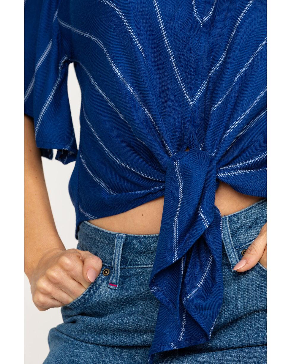 Idyllwind Women's Tailgate Tie Front Top, Navy, hi-res