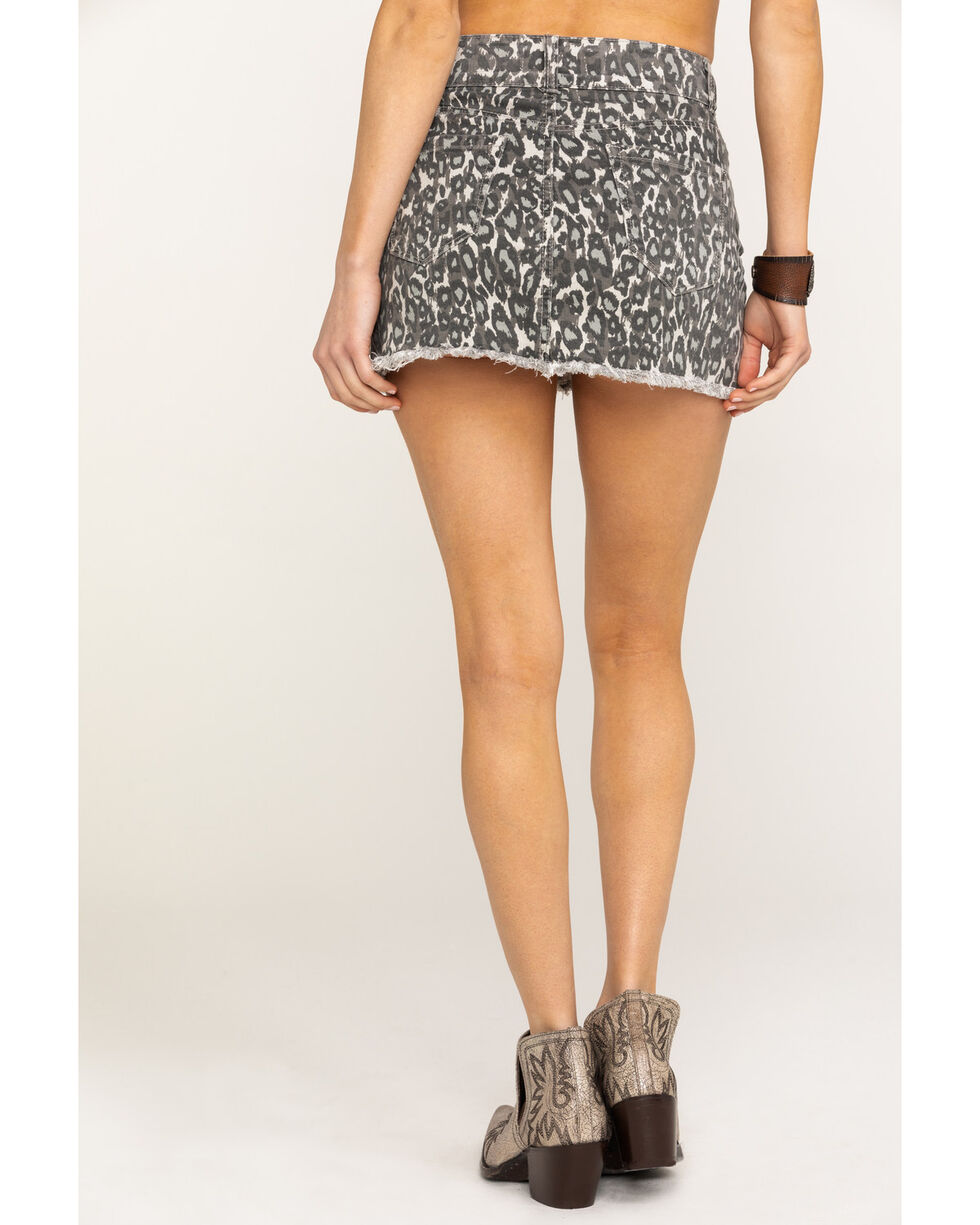 Ocean Drive Women's Grey Leopard Denim Frayed Mini Skirt , Leopard, hi-res