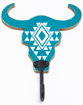BB Ranch Longhorn Wall Hook, Turquoise, hi-res