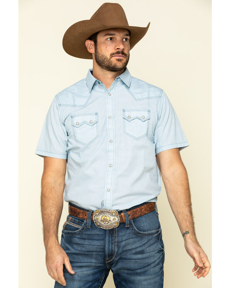 Moonshine Spirit Men's Diamond Road Geo Print Short Sleeve Western Shirt , Light Blue, hi-res