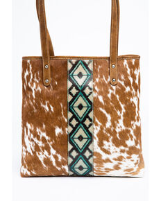 Shyanne Women's Bryndle Aztec Panel Leather Tote Bag, Tan, hi-res