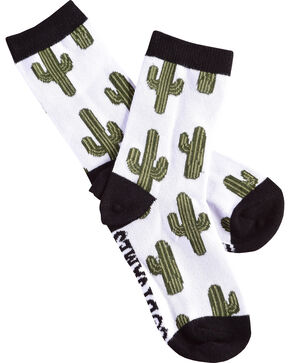 Cody James Boys' Cacti Crew Socks, White, hi-res
