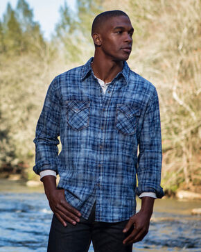 Ryan Michael Men's Indigo Jaspe Plaid Shirt , Indigo, hi-res
