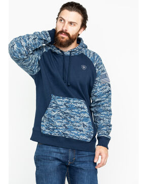 Ariat Men's Patriot Digi Camo Peached Fleece Hooded Sweatshirt , Navy, hi-res