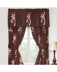 Browning Buckmark Pink Rod Pocket Curtains, Pink, hi-res