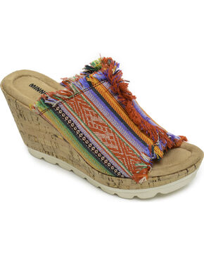 Minnetonka Women's York in Frisco Stripe Wedge Sandals , Multi, hi-res