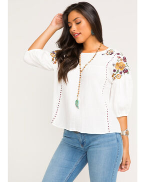 Shyanne Women's Floral Embroidered Peasant Top, Ivory, hi-res