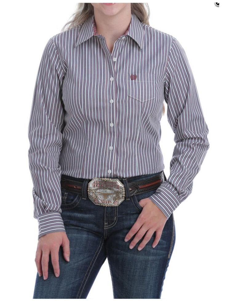 Cinch Women's Navy Stripe Button Long Sleeve Western Shirt, Navy, hi-res