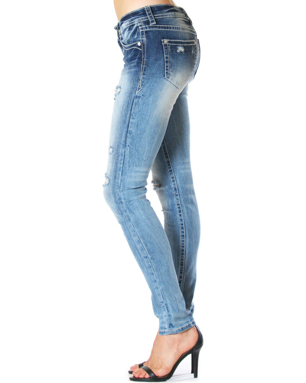 Grace in LA Women's Floral Embroidered Easy Fit Skinny Jeans, Medium Blue, hi-res