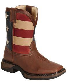 Durango Children's American Flag Cowboy Boots, Brown, hi-res