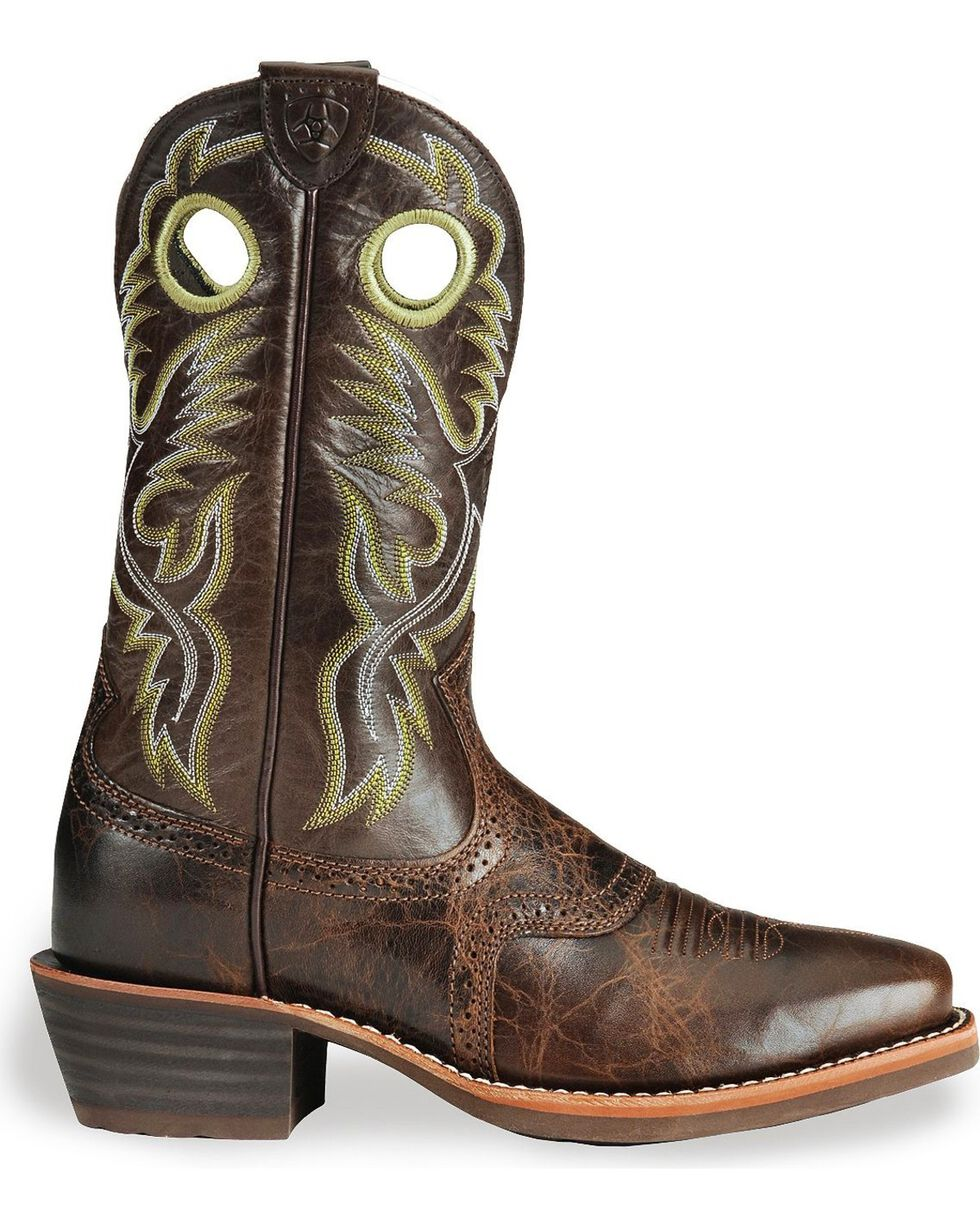 Ariat Men's Heritage Roughstock Western Boots, Brown, hi-res