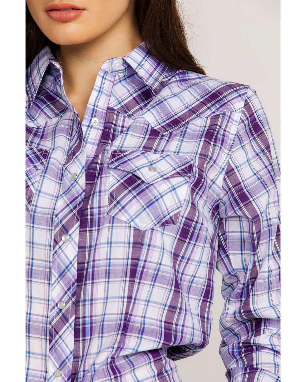 Ely Cattleman Women's Plaid Snap Long Sleeve Western Shirt , Purple, hi-res