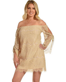 Young Essence Women's Lace Off The Shoulder Dress, Beige/khaki, hi-res