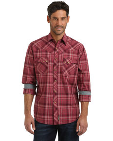 Wrangler Retro Men's Large Plaid Long Sleeve Western Shirt , Burgundy, hi-res