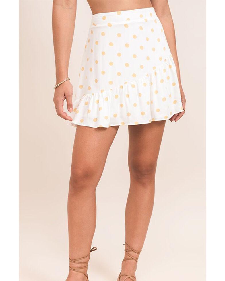 Others Follow Women's Polka Dot Echo Mini Skirt , Ivory, hi-res
