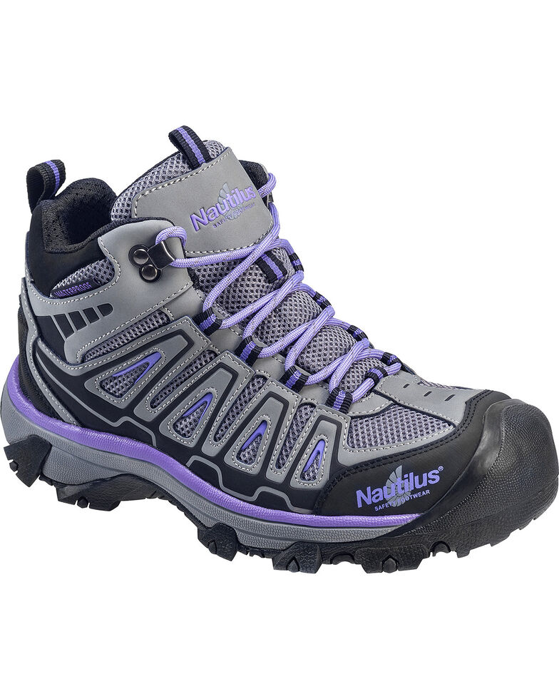 Nautilus Women's Grey and Purple Lightweight Waterproof Hiker Work Boots - Steel Toe , Grey, hi-res