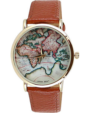Shyanne® Women's World Map Watch, Brown, hi-res