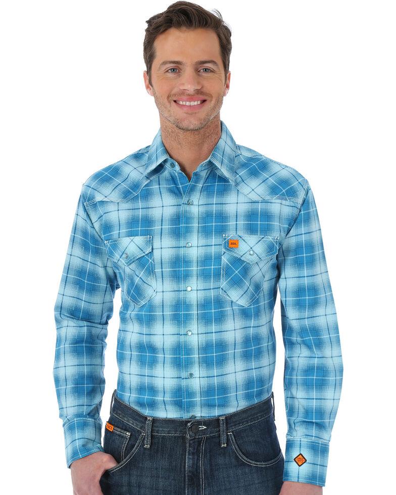 Wrangler 20X Men's Teal Flame Resistant Fashion Plaid Long Sleeve Work Shirt - Big, Teal, hi-res