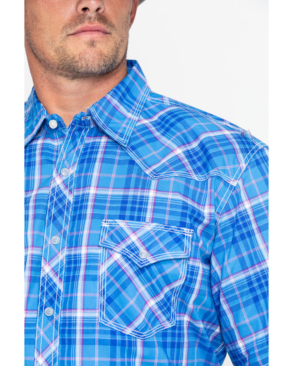 Wrangler 20X Men's Competition Advanced Comfort Plaid Short Sleeve Western Shirt - Tall , Blue, hi-res