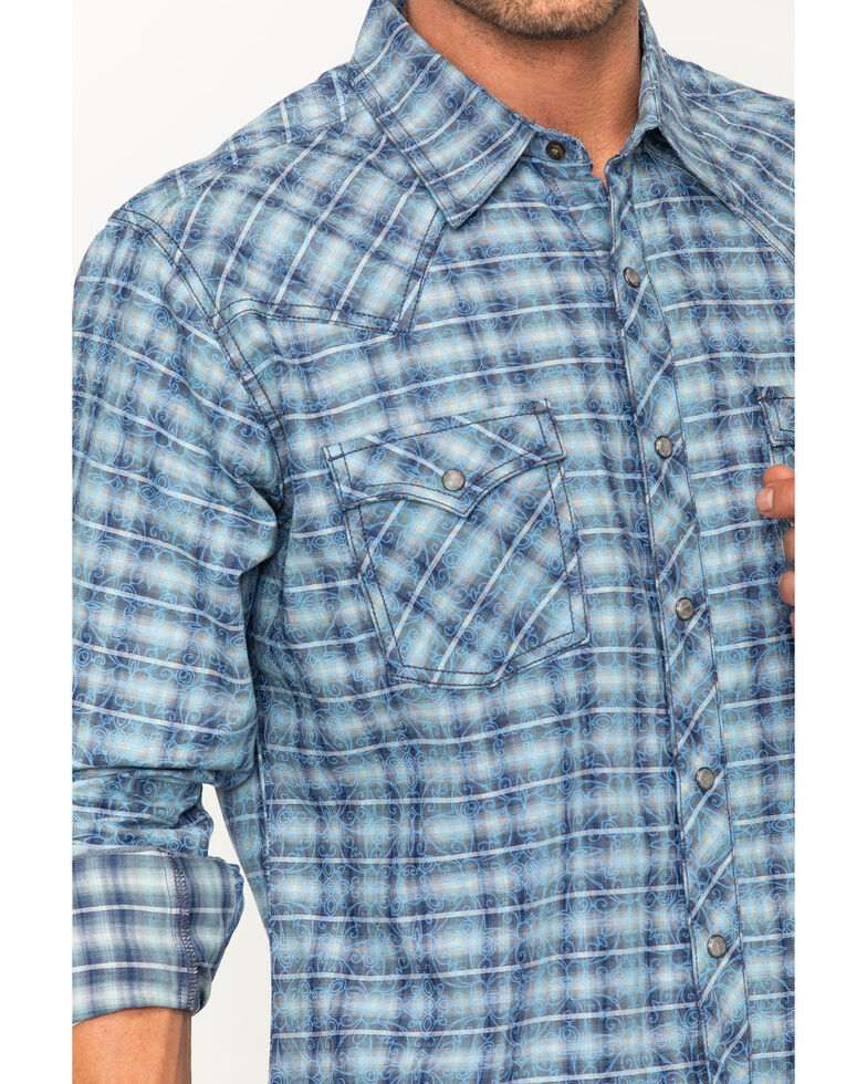 Wrangler Retro Men's Plaid Overprint Premium Snap Long Sleeve Western Shirt, Blue, hi-res