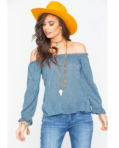 30fd0d6092af1 Rock   Roll Cowgirl Womens Navy Off The Shoulder Blouse