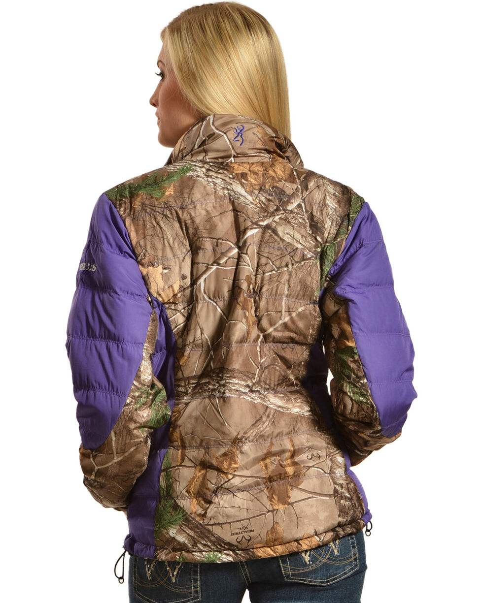 Browning Hell's Belles Plum and Camo Blended Down Jacket, Camouflage, hi-res