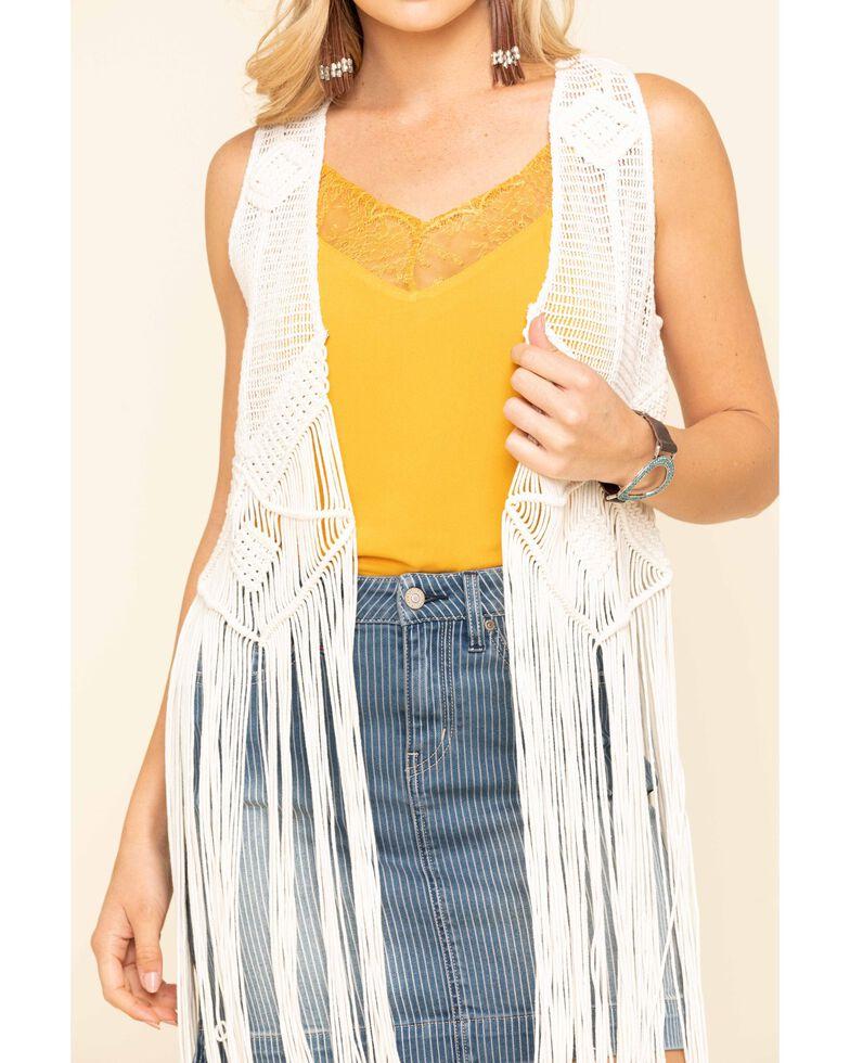 Idyllwind Women's Hippie Macrame Fringe Vest, Natural, hi-res