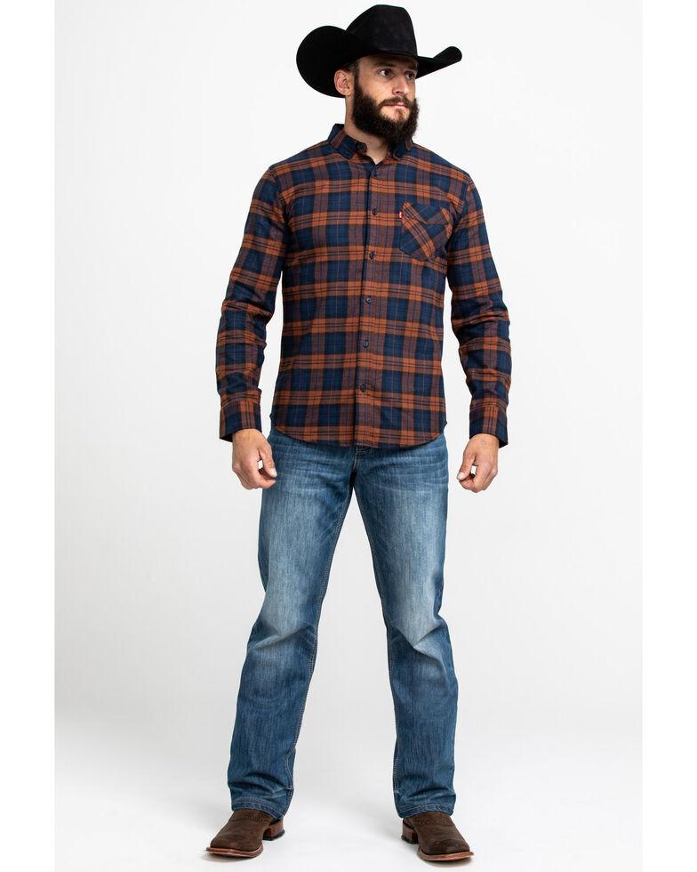 Levi's Men's Ferra Plaid Button Long Sleeve Western Flannel Shirt , Orange, hi-res
