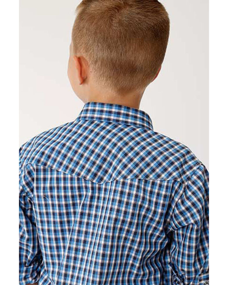 Roper Boys' Amarillo Americana Check Plaid Long Sleeve Western Shirt , Blue, hi-res