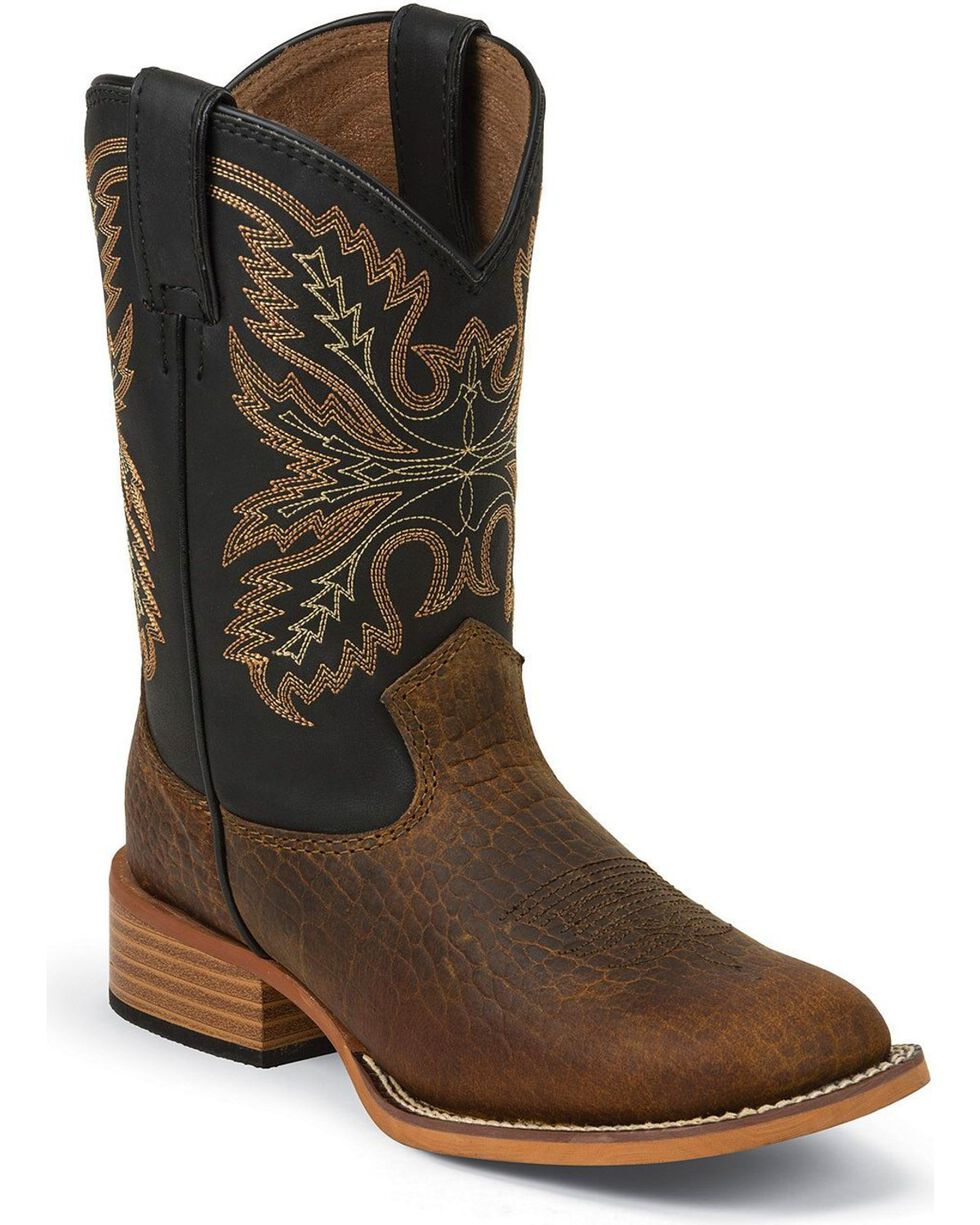 Justin Kid's Bent Rail Square Toe Western Boots, Brown, hi-res